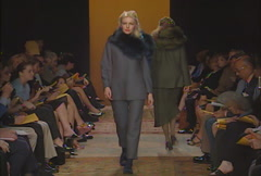 Fashion models walking on runway for Han Feng Collection Stock Footage