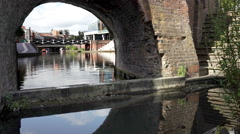 Bridge on Birmingham Canal Old Line, Brindley Place. Stock Footage