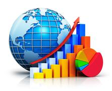 Growing bar graphs, pie chart and Earth globe Piirros