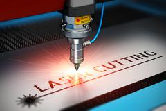 Laser cutting technology - stock illustration