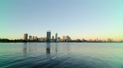Perth City Sunset Time Lapse Across The Swan River 2014 Stock Footage