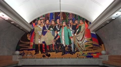 Mural of General Kutuzov (in 4k), in Park Pobedy metro station, Moscow, Russia. Stock Footage