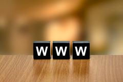 Www or World Wide Web on black block Stock Illustration