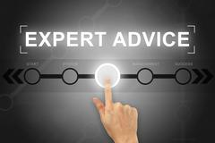Stock Illustration of hand clicking expert advice button on a screen interface