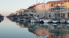 Boats in Caorle Italian Port 01 Stock Footage