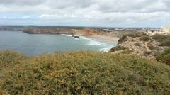 Portugal - Fortaleza - View on Sagres Beach - Blick auf den Strand von Sagres Stock Footage