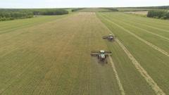 Wheat harvest combines Aerials Stock Footage