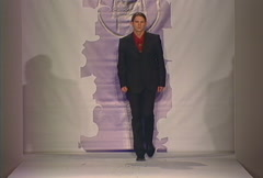 Fashion models walking on runway for Haroun & Mosqueda Collection Stock Footage