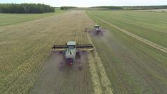 Wheat harvest combines Aerials - stock footage