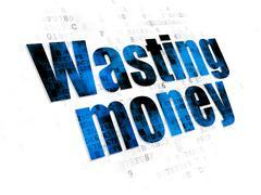 Stock Illustration of Banking concept: Wasting Money on Digital background