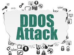 Protection concept: DDOS Attack on Torn Paper background - stock illustration