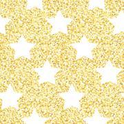 Stock Illustration of New Year seamless gometric pattern with golden glitter textured stars