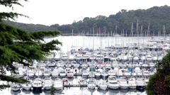 VRSAR, ISTRIA - AUG. 2015. Boat Marina From Town - stock footage
