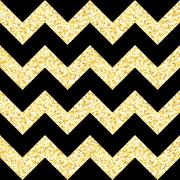 New Year seamless gometric pattern with golden glitter textured zig-zag stripes Stock Illustration