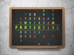 Protection concept: word Protection in solving Crossword Puzzle Stock Illustration