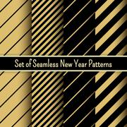 Set of black and gold seamless New Year party patterns Stock Illustration