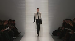 Fashion models walking on runway for J Mendel Collection Stock Footage