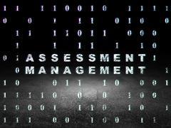Finance concept: Assessment Management in grunge dark room - stock illustration