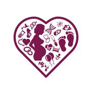 Pregnancy icons in heart Stock Illustration