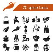 spice icons - stock illustration