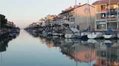 Boats in Caorle Italian Port 02 Stock Footage
