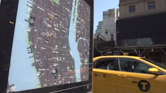 NewYork city map and taxi Stock Footage