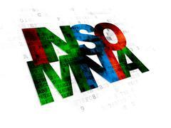 Medicine concept: Insomnia on Digital background - stock illustration