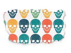 Medicine concept: Scull icons on Torn Paper background - stock illustration