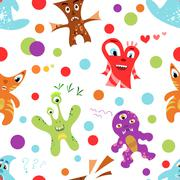 Funny colorful children's seamless pattern. Vector illustration Stock Illustration