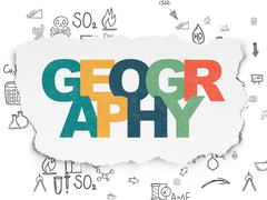 Stock Illustration of Science concept: Geography on Torn Paper background