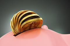 Putting Many Bitcoins Into Piggy Bank - stock illustration