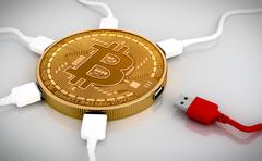 Red And White USB Wires Connected To The Bitcoin - stock illustration