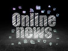 News concept: Online News in grunge dark room - stock illustration