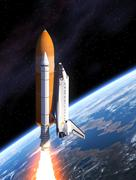 Space Shuttle Takes Off - stock illustration