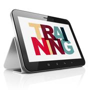 Learning concept: Tablet Computer with Training on  display Stock Illustration