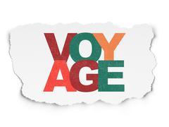 Travel concept: Voyage on Torn Paper background - stock illustration