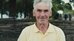 Natural senior man outdoors Stock Footage