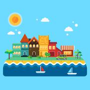 Small quiet seacoast Stock Illustration