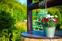 Decorative Flowers Bucket on a Well. - stock photo