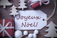 Label Gift Tree Joyeux Noel Means Merry Christmas - stock photo