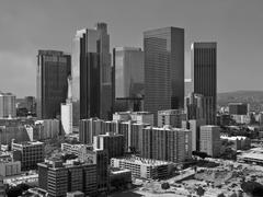 Stormy Sky Over Los Angeles Downtown in Black and White - stock photo