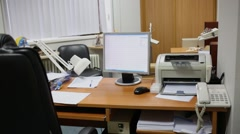 Office room with furniture and digital equipments. Stock Footage