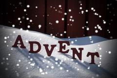 Advent Mean Christmas Time On Snow With Snowflakes - stock photo