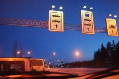 at the border crossing point of European Union - stock photo