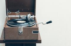 Old portable gramophone Stock Photos