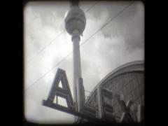 GERMANY - Berlin - television tower with alexander platz sign Stock Footage