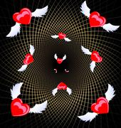 Flying hearts Stock Illustration