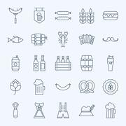 Line Holiday Oktoberfest and Beer Icons Set Stock Illustration