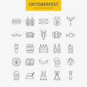 Line Oktoberfest Icons Big Set Stock Illustration