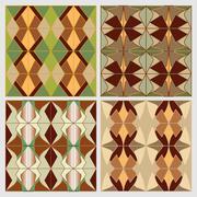 Set of art deco tiles in nostalgic colors. Vintage decorative background - stock illustration